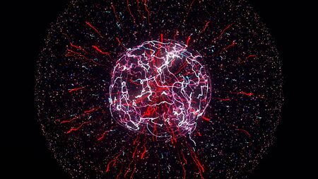 Abstract colorful explosion of neon nucleus isolated on black background. Amazing 3d impulse spreading into the sides surrounded by small particles. Imagens