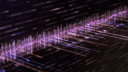 Abstract background with music track and numbers. Animation. Abstract color equalizer moves with numbers on black background. Computer equalizer matrix.