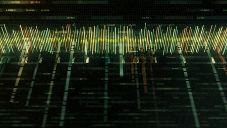 Abstract colorful equalizer matrix-style on black background. Animation. Music track or business chart with colored strokes and numbers in style of computer matrix.