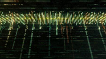 Estilo de matriz de ecualizador colorido abstracto sobre fondo negro. Animación. Pista de música o gráfico de negocios con trazos de colores y números en estilo de matriz de computadora.