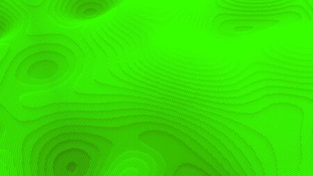 Wavy bright green surface with ripples and grains, seamless loop. Animation. Futuristic background with flowing pixel texture of neon green color.