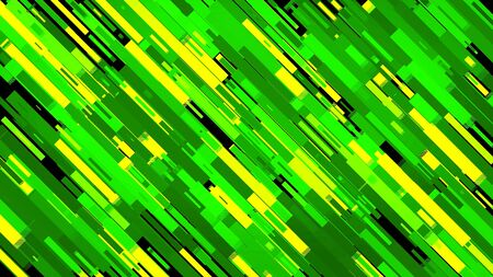 Abstract background with glowing diagonal lines moving into the same direction on black background. Neon green short stripes flowing down.