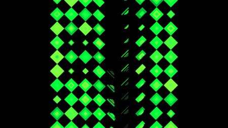 Green motion abstract background with colorful pixels flashing and switching on black background, seamless loop. Animation Green glowing mosaic tiles in parallel rows.