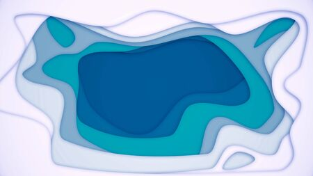 Abstract background with multi-layer color hole. Animation. Abstract deep layers of white to colorful bottom. Background layered indentation created using computer graphics.