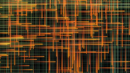Abstract colorful narrow straight lines flowing on black background, seamless loop. Animation. Orange, green rays flow and cross each other.