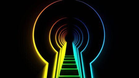 Abstract animation neon lock hole. Animation. Neon tunnel in shape of door opening for key. Keyhole tunnel on black background