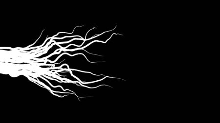 Animation of growing roots on black background. Animation. Slowly growing roots from left to right on black background. Moving lines like growing roots or progressive disease