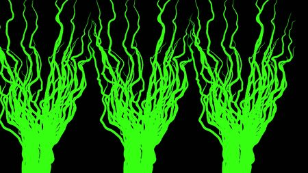 Branching plant roots on black background. Animation. Abstract animation of growing three green beams on black background