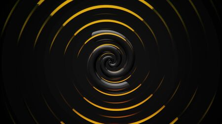 Abstract beautiful hypnotic rotating spiral of wide bended stripes surrounded by yellow rings, seamless loop. Animation. Motion background in black and golden colors. Imagens