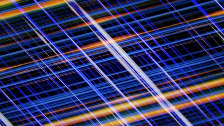 Abstract glowing parallel lines of purple and orange colors rotating on black background, seamless loop. Animation. Glowing spinning light rays.