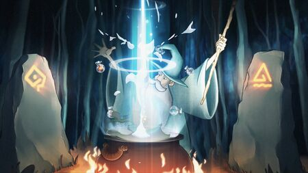 Halloween concept, cartoon animation with a mysterious place on a map in the forest where a wizard preparing a potion on a ritual fire. Stock footage. Old magician performing the rite among sings and symbols.