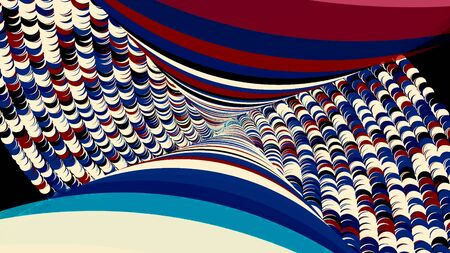 Abstract breathtaking psychedelic optical illusion of circles on black background. Animation. Falling down throung the colorful rotating spiral along vertical 3D rows of figures.