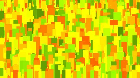 Colorful background in slow motion of glowing mosaic tiles. Animation. Colorful blinking figures looking like abstract modern art, seamless loop.