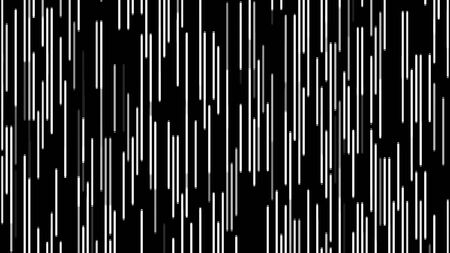 Abstract short narrow lines of white color flowing from the bottom to the top on black background, seamless loop. Animation. Monochrome parallel stripes moving slowly.