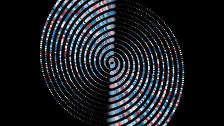 Abstract rows of small circles rotating fast and becoming giant 3D columns on black background. Animation. Psychedelic background with spinning volume shapes.