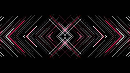 Pattern of lines with interference on black background. Animation. Triangular mirror pattern of colored lines intersects with interference on black background 스톡 콘텐츠