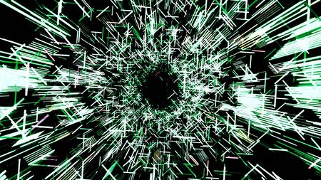 Futuristic tunnel of broken lines. Animation. Beautiful cyber tunnel of geometric lines and strokes on black background. Abstract tunnel from moving broken strokes of matrix.