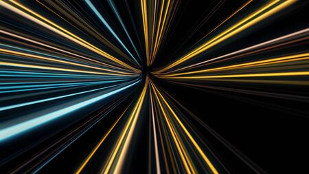 Abstract colorful glowing lasers forming speed tunnel on black background, seamless loop. Animation. Motion graphic backdrop, Speed of light, neon glowing rays in motion. Imagens
