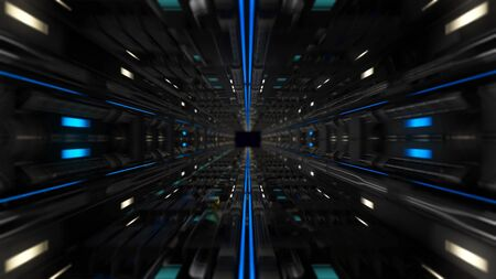 Moving through high-tech tunnel. Animation. Futuristic tunnel with black metal details and neon lines. Tunnel in style of future with neon lines