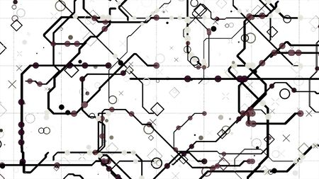 Electric scheme circuit with bright abstract signals flowing into different directions on white background. Animation. Neural network and big data, artificial intelligence, matrix concept, seamless loop.
