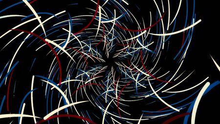Abstract flight in futuristic corridor with many bended colorful lines that forming a pattern of a snowflake, seamless loop. Animation. Bright curved lines, geometric endless tunnel. Imagens