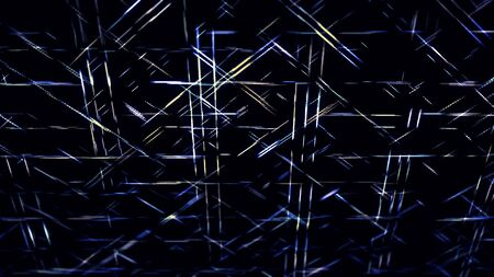 Geometric pattern with short neon lines moving fast one by one in diagonal direction. Animation. Narrow stripes crossing and flowing on black background, seamless loop.