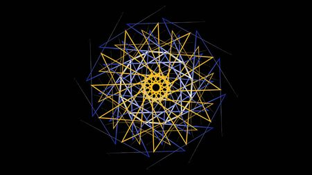 Hypnotic rotating pattern of colored geometric lines. Stock animation. Colorful pattern of curved lines creates kaleidoscope effect on black background.