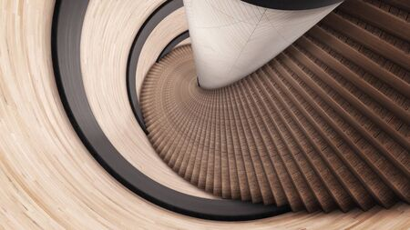 Abstract spiral ladder of brown color. Animation. Details of abstract interior, moving backwards along the stairs of a spiral wooden staircase and a wall