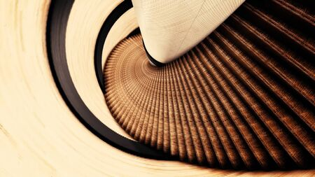 Upside down view of a spiral staircase. Animation. Flying along the abstract spiral stairs and walls of brown color, psychedelic 3d animation, seamless loop.