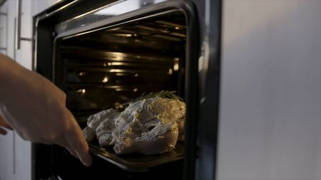 Cook putting raw chicken with white mayonnaise dressing to the oven. Stock footage. Home cooking concept, close up of hands putting chicken with rosemary into the oven.