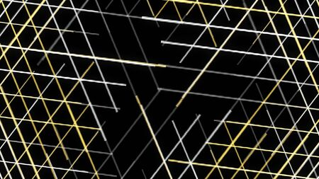 Thin yellow and grey laser beams spin isolated on black background. Animation. Abstract rotating and crossing laser lights, background for nightclub, music festival. Imagens
