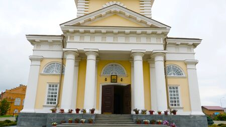 Beautiful facade with yellow walls and Golden domes of the Orthodox Cathedral. Stock footage. Spaso-Preobrazhensky Cathedral with beautiful Russian architecture.