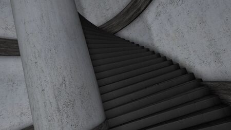 Twisting staircase. Animation. 3D animation of vertiginous descent down twisted tower staircase. Animation of descending stairs for medieval themes.