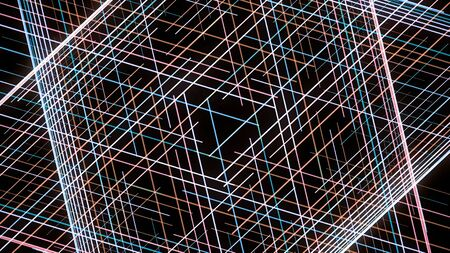 Hypnotic grid of lines creates geometric patterns. Animation. Computer graphics of hypnotic animation with moving lines in grid and geometric pattern Imagens