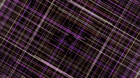 Hypnotic neon grid on black background. Animation. Animated background of intersecting neon lines creating square pattern. Computer graphics in creating background