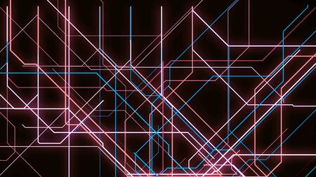 Electronic metro map. Animation. Neon lines move along specified route and create schematic animation on black background Imagens
