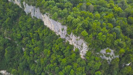 Top view of wild forest valley with rocks and stream. Clip. Natural landscape of dense green forest with rock ledges and mountain rivers.