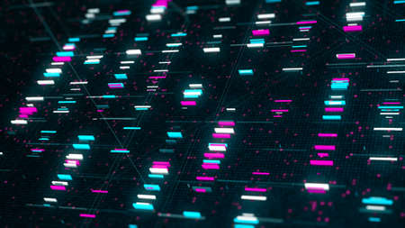 The abstract high tech digital background with information transfer. Animation. Flying along the bright colorful flickering pixels randomly spaced over a dark background, seamless loop. Foto de archivo