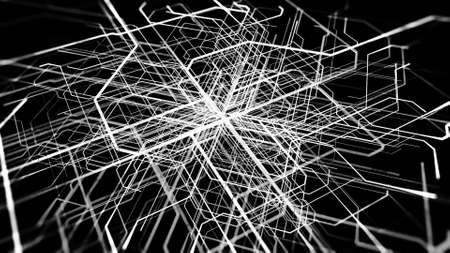 Abstract white lines moving and bending from the center of the black screen in different trajectories. Animation. Monochrome pattern with stripes creating endless labyrinth. 写真素材