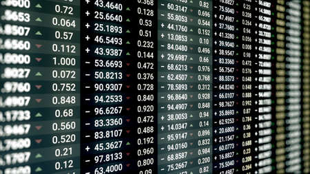 Stock market or stock exchange information with data of price, change, and volume. Animation. Financial indexes of stock companies change up and down over time market wall.