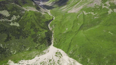 Top view on line of melt water in mountainous landscapes. Clip. Large fork in mountain bed from meltwater flowing down from snow peaks. Beautiful meltwater in green mountain pass