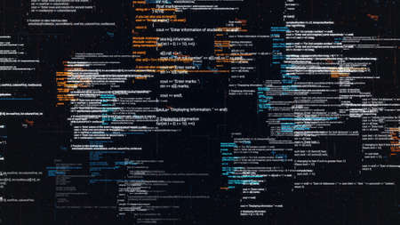 Abstract computer code running in a virtual space. Animation. Programming code with moving lines isolated on black sreen background, seamless loop. Foto de archivo