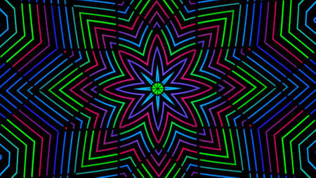 Abstract radial background with animation of moving colorful patterns. Animation. Cartoon kaleidoscope, concept of LSD effect, seamless loop.