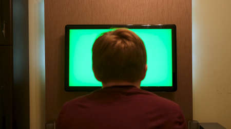 Back view of a young man sitting on a couch, watching big flat screen TV with green screen. Concept. Male at home relaxing in front of TV with chroma key. Stok Fotoğraf