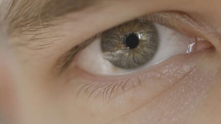Macro photography of mans eye. Action. Close-up of mans eye with mixed gray color. Beautiful details of human eye with reflection in pupil