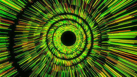 Glowing red, green, yellow lines rotating and forming a funnel. Animation. Colorful vortex spinning on black background, seamless loop.