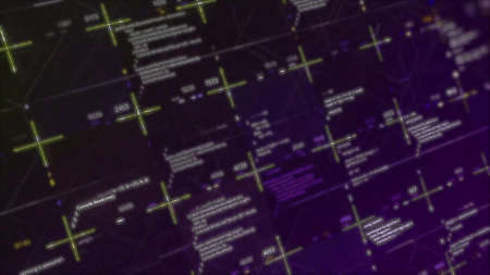 Programming blocks of code with glitch effect on purple background, seamless loop. Animation. Technology background with a hacker attack in progress. Stock fotó