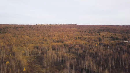 Panorama of autumn bare forest with stones. Clip. Top view of forested autumn hills with stones of destroyed mountains. Beautiful autumn landscapes with trees and rocks. Stock fotó