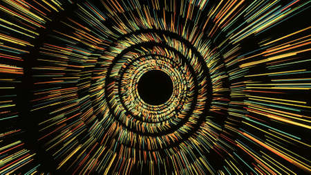 Rotating tunnel with shining lines on black background. Animation. Shining rings of strokes rotate to form passageway. Cosmic wormhole with shining rings