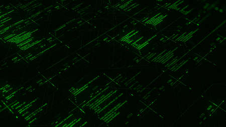 Futuristic screen with animated digital graphs, charts, computer data and numbers. Animation. Concept of economy, financial, technology or futuristic technologies, seamless loop.